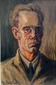20th Century School, Continental, possibly German, Oil on Panel, Expressionist head and