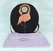 Lulu Guinness circular straw beach bag embroidered with a flamingo in raffia on straw, with carry