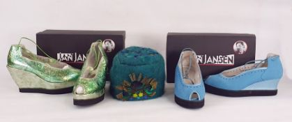 Two pairs Jan Jansen new blue nubuck wedge platform shoes with laces and silver and green printed