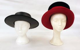 Philip Treacy black and red wool felt hat and a Spanish leather riding hat labelled 'Durate' (2)
