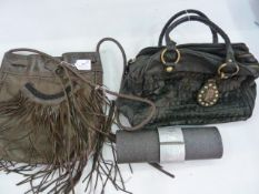 Angel Jackson leather bag with fringe and bead detail and plaited handles, a Sara Berman black