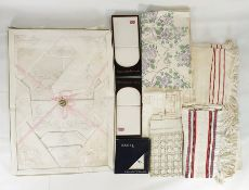 Large quantity of assorted table linenincluding damask tablecloths, hand towels, mats, assorted