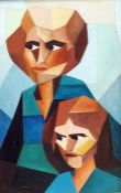 20th Century School, Oil on canvas, Cubist portrait of two figures, indistinctly signed lower