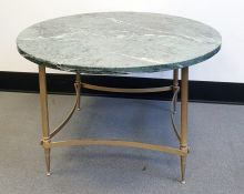 20th Century coffee table, circular green marble top  on stretchered brass base (70cm diameter)
