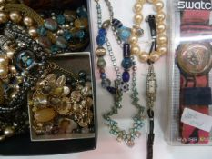 Assorted costume jewellery including 1930's diamante cocktail watch, a PopSwatch in original case,