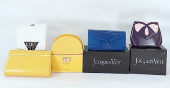 Three Jacques Vert handbags in original boxes and a gift set 'Caleche' by Hermes of Paris , with a
