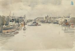 "William Thomas Martin Hawksworth (1853-1935) Watercolour drawing ""London River: The Pool"", bearing"