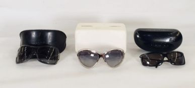 Balenciaga sunglasses in original box with Balenciaga dust bag, Gucci wraparound sunglasses in