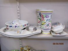 Pair of Poole Pottery vases with floral and bird decoration and other Poole Pottery tableware,