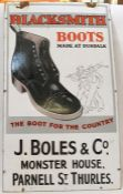 Enamel sign marked 'Blacksmith, Boots made at Dundalk, The Boot for the Country, J Bowles & Co,