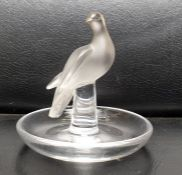 Lalique Dove frosted crystal glass bird trinket/pin tray, signed to base