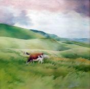 Elizabeth Reid Oil on panel Cows in field, signed lower left, bears label verso, 59cm x 59cm