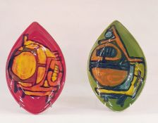 Two Poole Pottery teardrop-shaped dishes, one red ground the other green ground (2) Condition