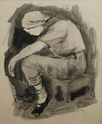 Gillean Whitaker Black wash and pencil Sketch of Mavis Newsham (later Hartwell), Manor Farm,