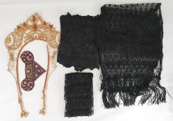 Black Victorian net and embroidered scarf/shawlwith a deep fringe, a length of black lace, a