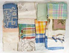 Quantity of assorted linen, tableware, bedlinen, table linen, etc (2 boxes)