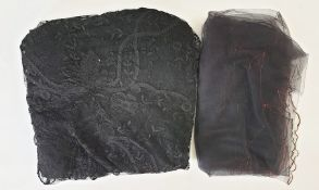 Large Victorian net and embroidered black shawland a black net embroidered shawl, embroidered in