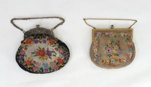 Silver-coloured metal frame, pierced and chased with images of cherubs, etc on a tapestry bag and