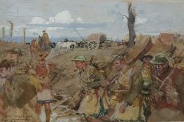 """Charles Constantin Joseph Hoffbauer (1875-1957) Watercolour """"Highland Infantry"""", view of the"""