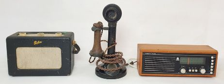 Roberts RM33 radio, another Roberts radioand a vintage black daffodil upright telephone(3)