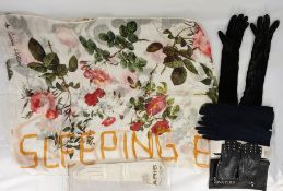 Vivienne Westwood scarf printed with roses and titled 'Sleeping Beauty', a Liberty linen black and