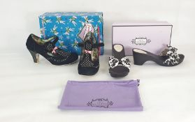 Lulu Guinness muleswith black and white bow decoration, in original box and dust bag and
