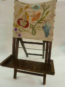 Vintage small folding and adjustable reading/beach chair with crewel work fabric back- rest