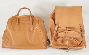 Angel Jackson tan leather holdall and a Nubuck kid-skin leather backpack made by Flash (Norway) (2)