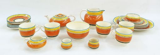 20th century Susie Cooper tea servicefor Grays in orange, yellow and green bands
