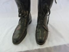 Pair of vintage black gentleman's hunting boots, with wooden trees