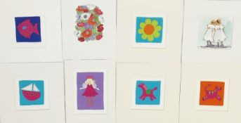 Niki Hayward (20th Century Artist) Set of six embroidered applique felt pictures, including '