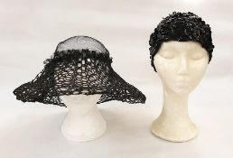 Simone Mirman net black hat and a 1960's knitted and black sequin beanie (2)