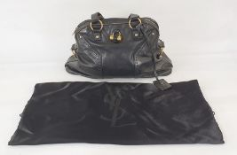 Yves Saint Laurent black leather bag with gilt metal hardware, with original dust bag  Condition