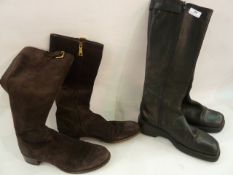 Pair of brown suede Prada bootswith side buckle detail, size 37 (worn) and a pair of black