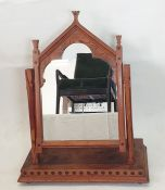 20th century pine dressing table mirror in the Gothic taste