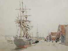 "William Thomas Martin Hawksworth (1853-1935) Pen, ink and watercolour ""Walk, Yarmouth"", 19cm x 25cm"