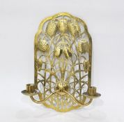 Arts and Crafts, after Norman Jewson brass Fritillary candle sconceby Norman Bucknell, Bisley (made
