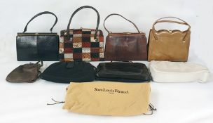 Various vintage bags including a 1970's patchwork leather bag, printed snakeskin, etc (8)