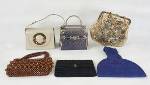 Assorted vintage handbags including Roberta Di Camerino black clutch bag, a 1950's printed plastic