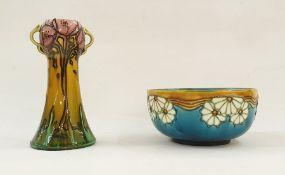 Minton Seccessionist bowl, no.32, blue ground with white flowers ( af) and a Minton Seccessionist