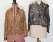 1920's/30's printed lame shirtwith tassel and metal buttons and a lace gold lame blouse (2)