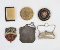 Stratton compact with decorated front, two other compacts, a silver-coloured metal chain-mail
