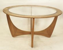 Teak G-Plan circular coffee table with glass top, 84cm diameter  Condition ReportThe table is in