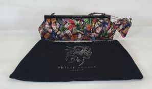 Philip Treacy silk handbag printed with butterflies, attached purse, with original dust bag and