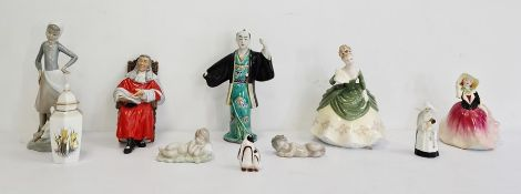 Lladro figure of a girl with a duck, two other Lladro figures, a Royal Worcester fine bone china