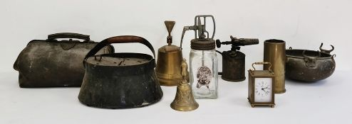 Military brass cannon shell, a brass bell, a pewter tankard, a leather Gladstone bag and a metal