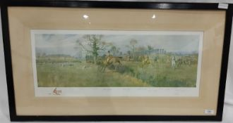 After F A Stewart Hunting print Signed by the artist in pencil in the margin and a vignette with
