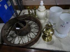 Cast iron vintage cart/car wheel, a pair of brass table lamps, a pair of glass table lamps, a