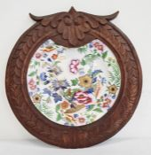 Hicks & Meigh Britannicus Dresden china decorative plate mounted in a wooden frame  Condition