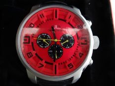 Gent's deLorean chronograph-style stainless steel wristwatchwith red dial, three subsidiary black